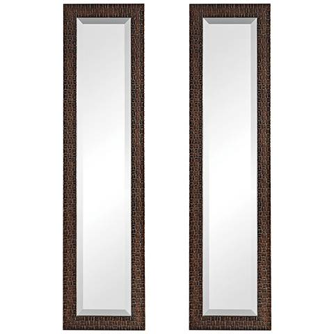 """Uttermost Ailani Brown 12"""" x 48"""" Wall Mirror Set of 2"""