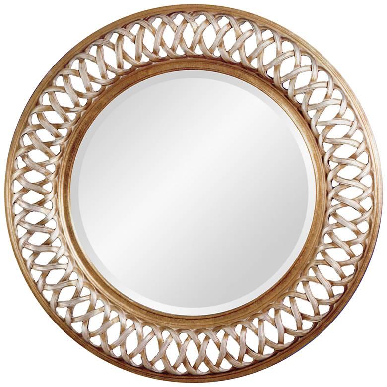 "Alissa Champagne Leaf 45"" Oversized Round Wall Mirror"