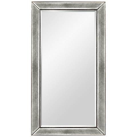"""Hollywood Glam Silver Leaf 36"""" x 48"""" Beaded Wall Mirror"""