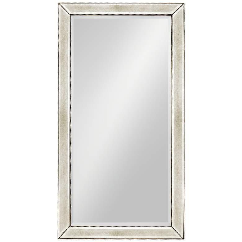 "Hollywood Glam Antique Mirror 44"" x 82"" Beaded Floor Mirror"