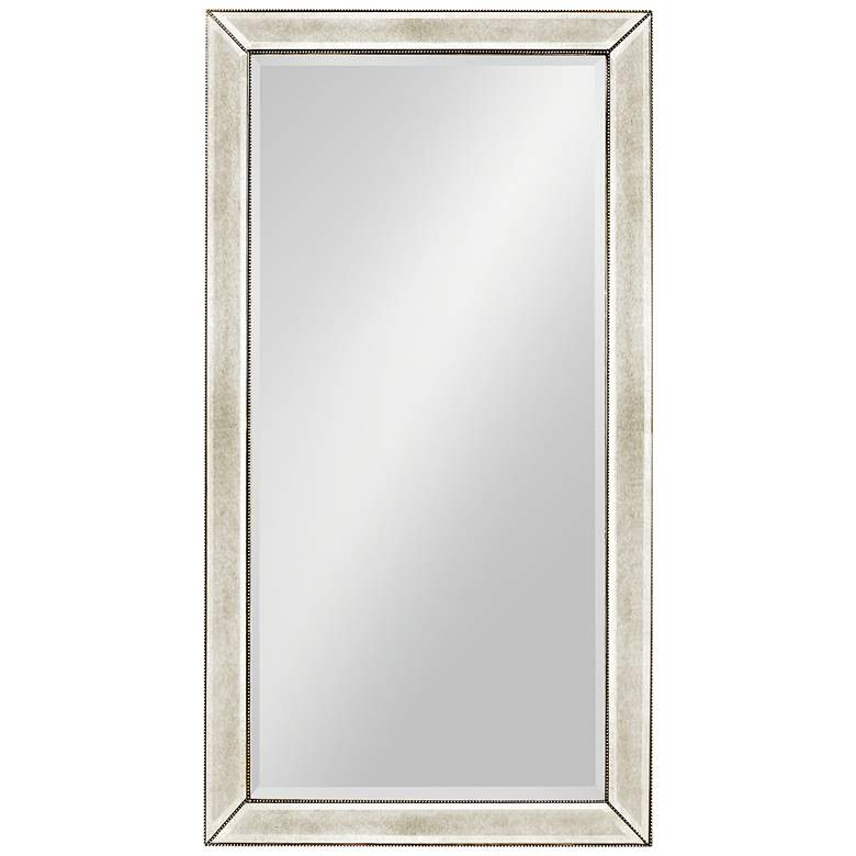 Hollywood Glam Antique Mirror 44x82 Beaded Floor Mirror