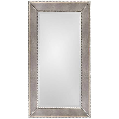"Hollywood Glam Antique Mirror 26"" x 48"" Beaded Wall Mirror"