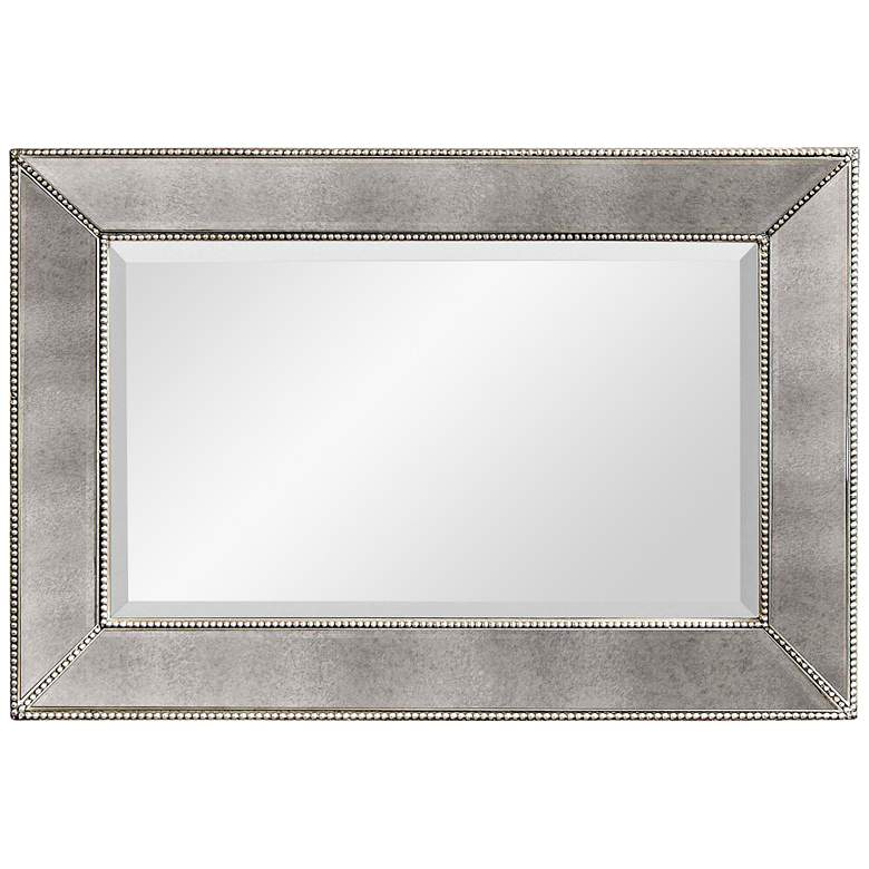 """Hollywood Glam Antique Mirror 36"""" x 24"""" Beaded"""