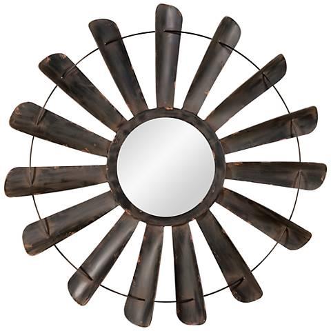 """Nolan Antique Iron 48"""" Oversized Round Wall Mirror"""