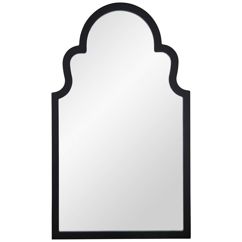 """Elberta Black Lacquer 24"""" x 40"""" Arch Top Wall Mirror"""