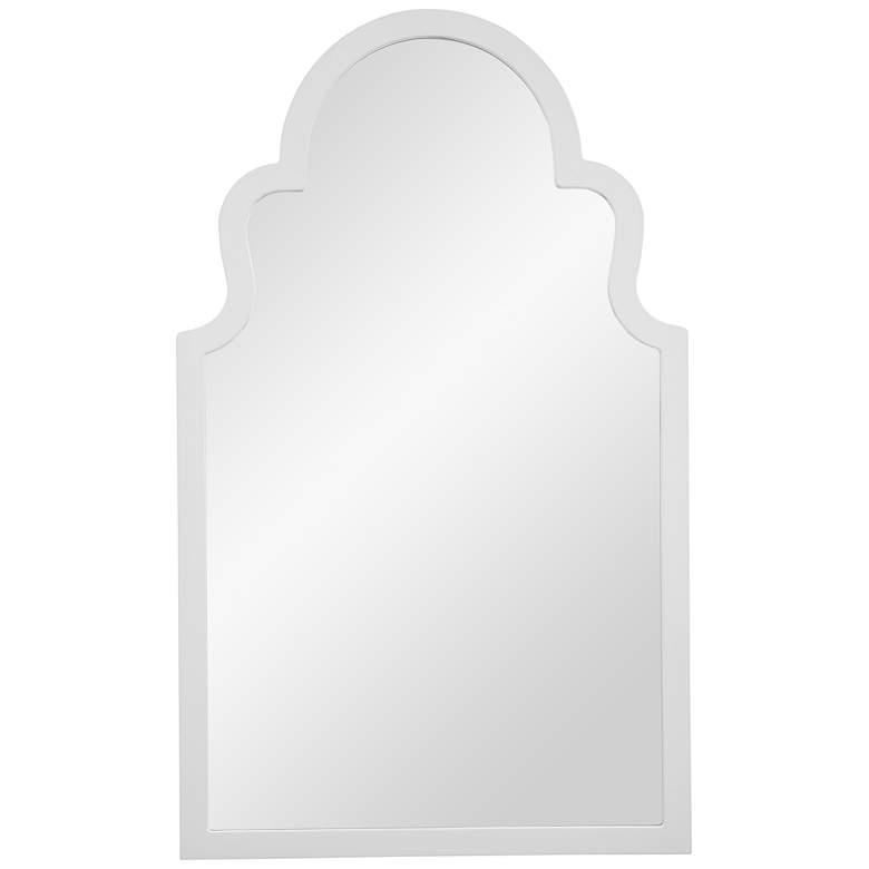 "Myrna White Lacquer 24"" x 40"" Arch Top Wall Mirror"