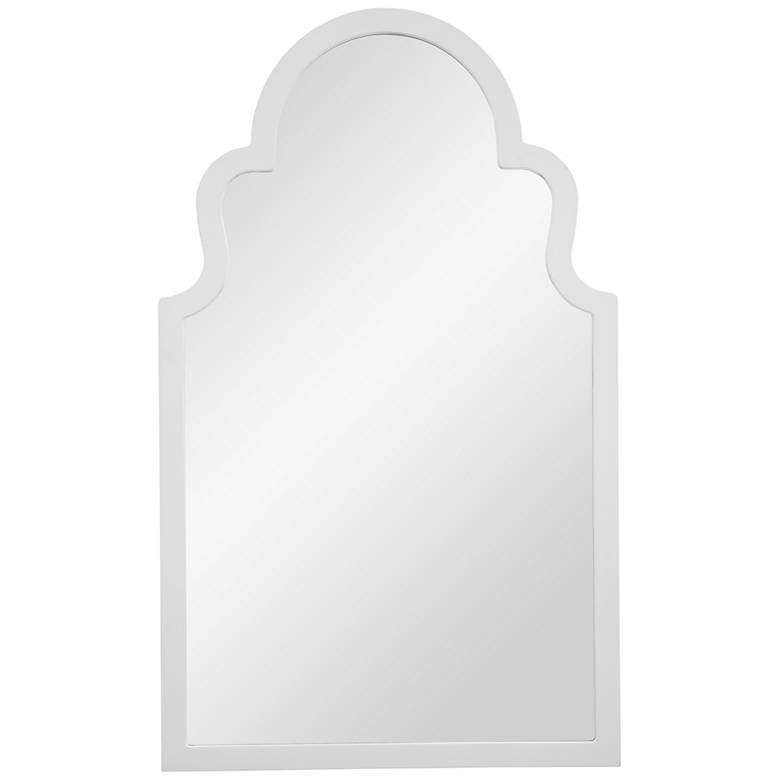 "Myrna White Lacquer 24"" x 40"" Arch Top Wall Mirror"