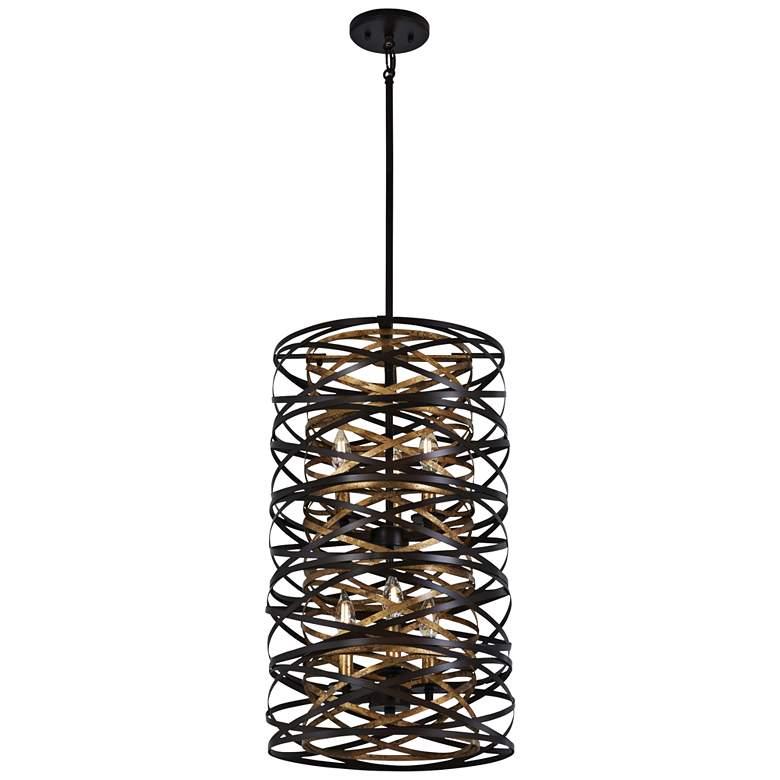 "Vortic Flow 14""W Dark Bronze and Mosaic Gold 6-Light Pendant"