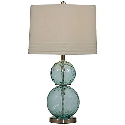 Barika Blue-Green Dimple Glass Table Lamp