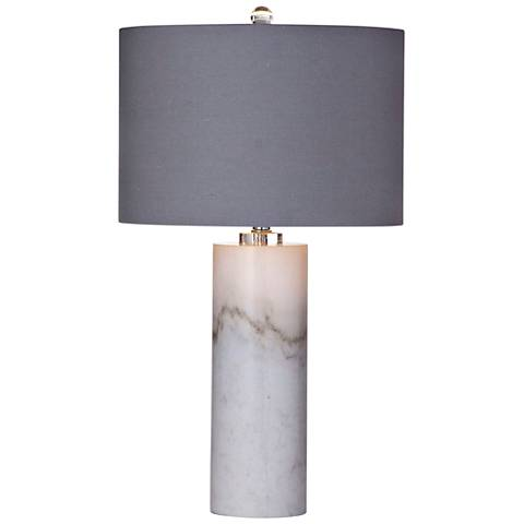 Raywick White Marble Column Table Lamp