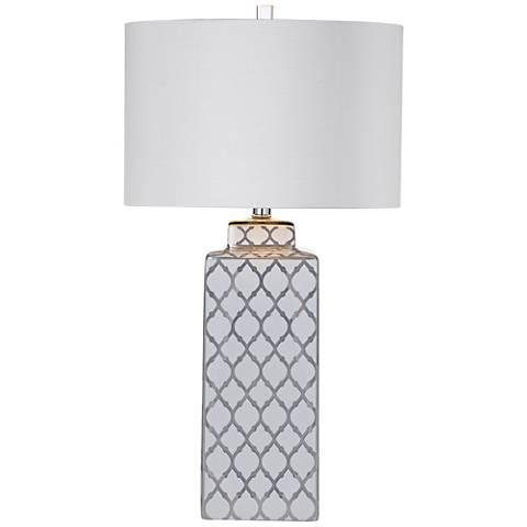 Sydney Silver and White Quatrefoil Ceramic Table Lamp