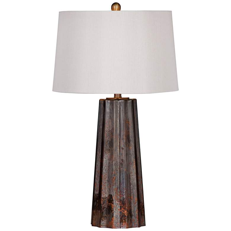 Caleb Copper Mercury Glass Fluted Obelisk Table Lamp