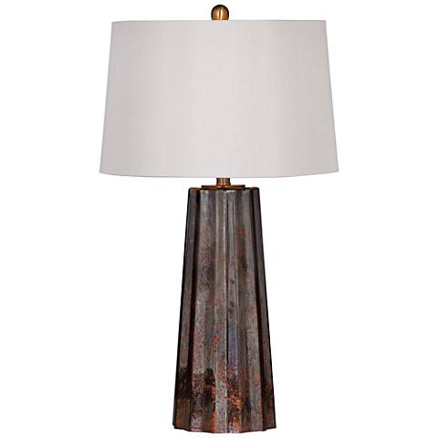 Caleb Copper Mercury Glass Fluted Obelisk Table Lamp