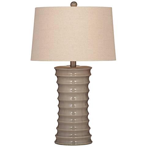 Cara Gray Crackle Ribbed Ceramic Table Lamp