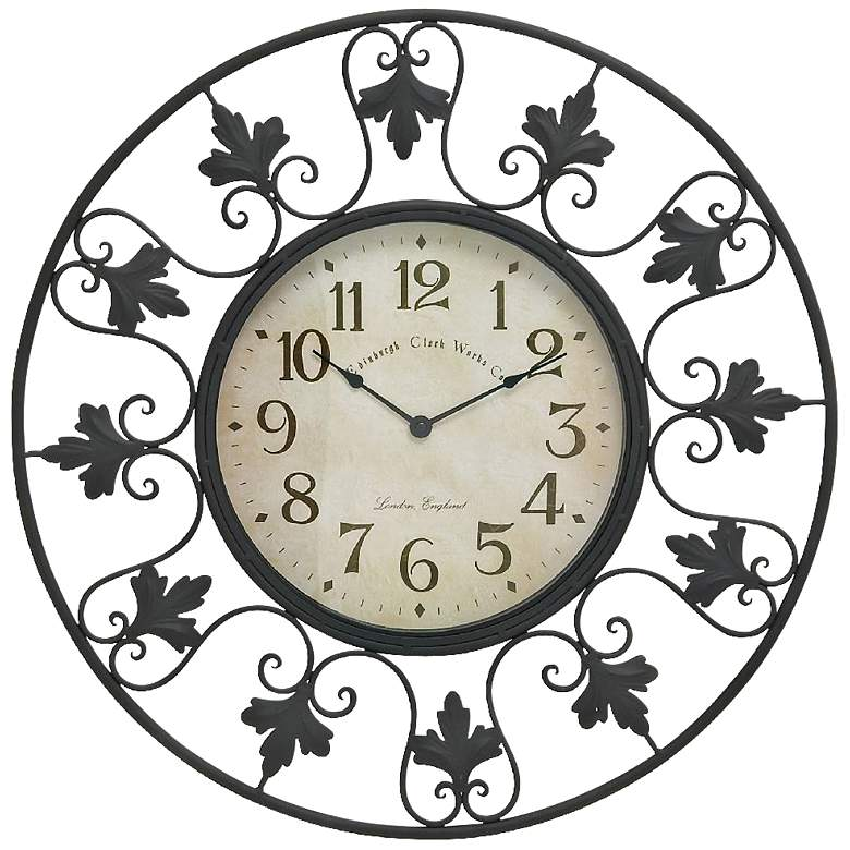 "Francine Black 23"" Round Outdoor Scroll Metal Wall Clock"