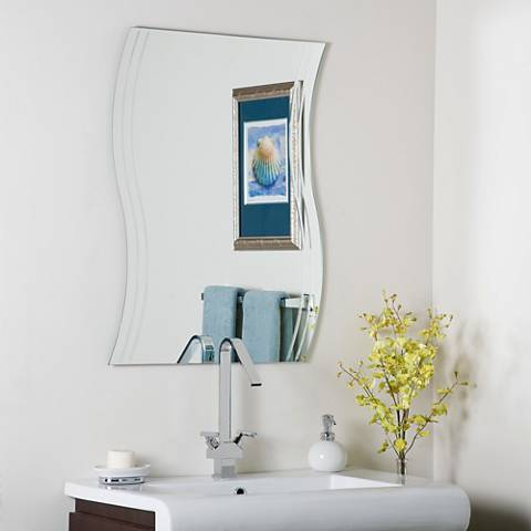 "Frameless Wave 23 1/2"" x 31 1/2"" Novelty Wall Mirror"
