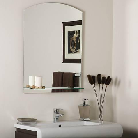 """Arch 23 1/2"""" x 31 1/2"""" Frameless Wall Mirror with Shelf"""
