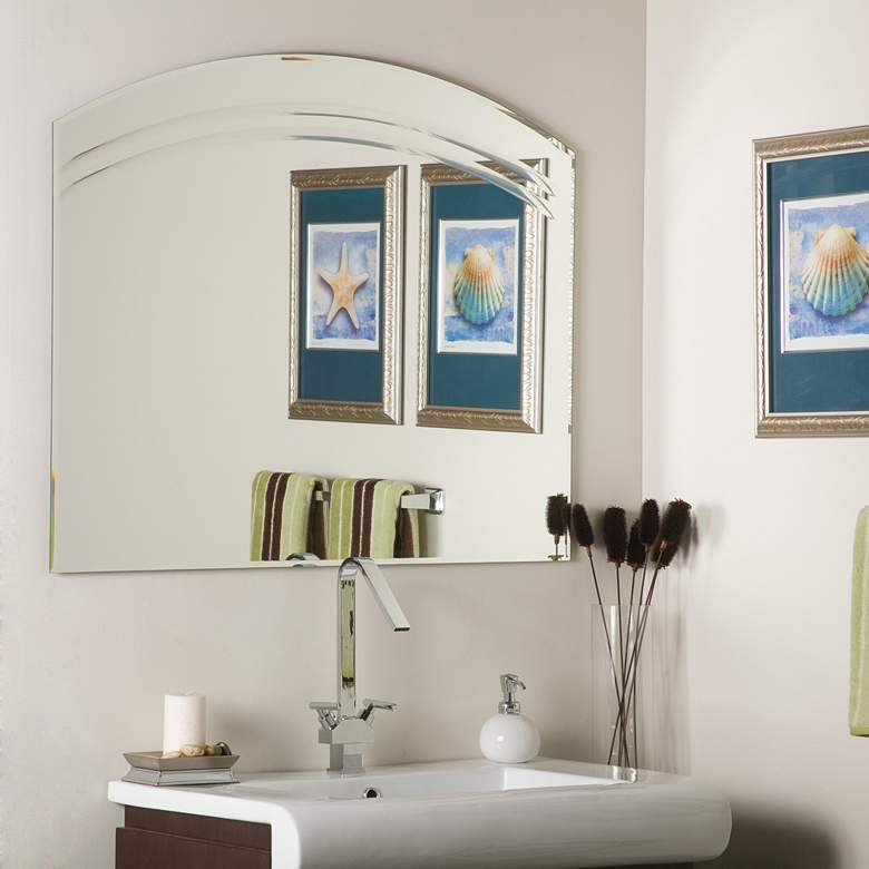 "Angel 39 1/2"" x 31 1/2"" Arch Frameless Wall Mirror"