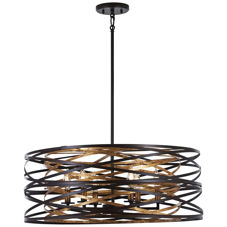 "Vortic Flow 26"" Wide Dark Bronze Mosaic Gold 6-Light Pendant"