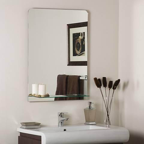 """Columbus 23 1/2"""" x 31 1/2"""" Frameless Shelf Wall Mirror"""