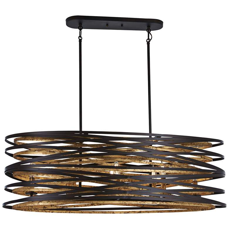 "Vortic Flow 40""W Bronze Gold Kitchen Island Light Pendant"
