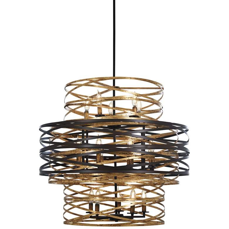 "Vortic Flow 30"" Wide Dark Bronze and Gold 18-Light Chandelier"