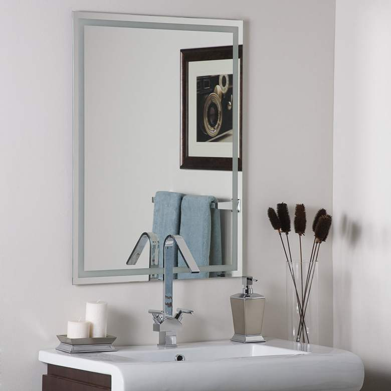 "Frameless Etch 23 1/2"" x 31 1/2"" Wall Mirror"