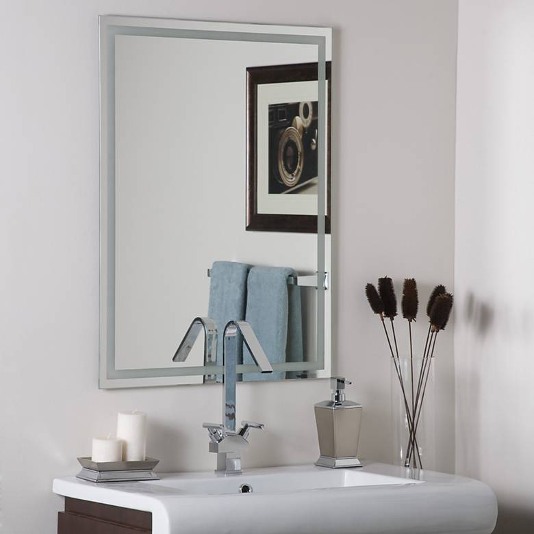 "Frameless Etch 23 1/2"" x 31 1/2"" Wall Mirror"