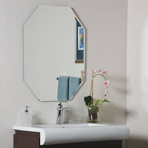 "Frameless Octagon 23 1/2"" x 31 1/2"" Beveled Wall Mirror"