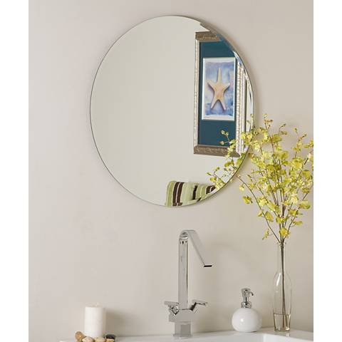 "Ophelia 23 1/2"" Round Frameless Beveled Wall Mirror"