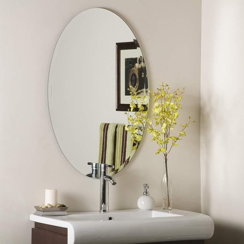 "Helmer 24"" x 36"" Oval Beveled Frameless Wall Mirror"