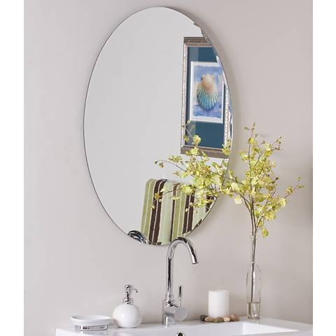 "Frameless Oval 23 1/2"" x 31 1/2"" Scallop Wall Mirror"