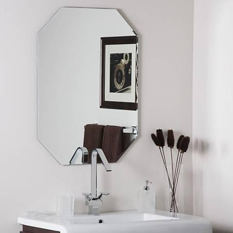"""Frameless Octagon 23 1/2"""" x 31 1/2"""" Scallop Wall Mirror"""