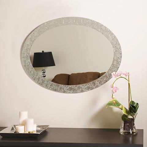 "Frameless Crystal 23 1/2"" x 31 1/2"" Oval Wall Mirror"