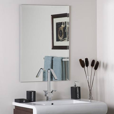 "Frameless Square 23 1/2"" x 31 1/2"" Beveled Wall Mirror"