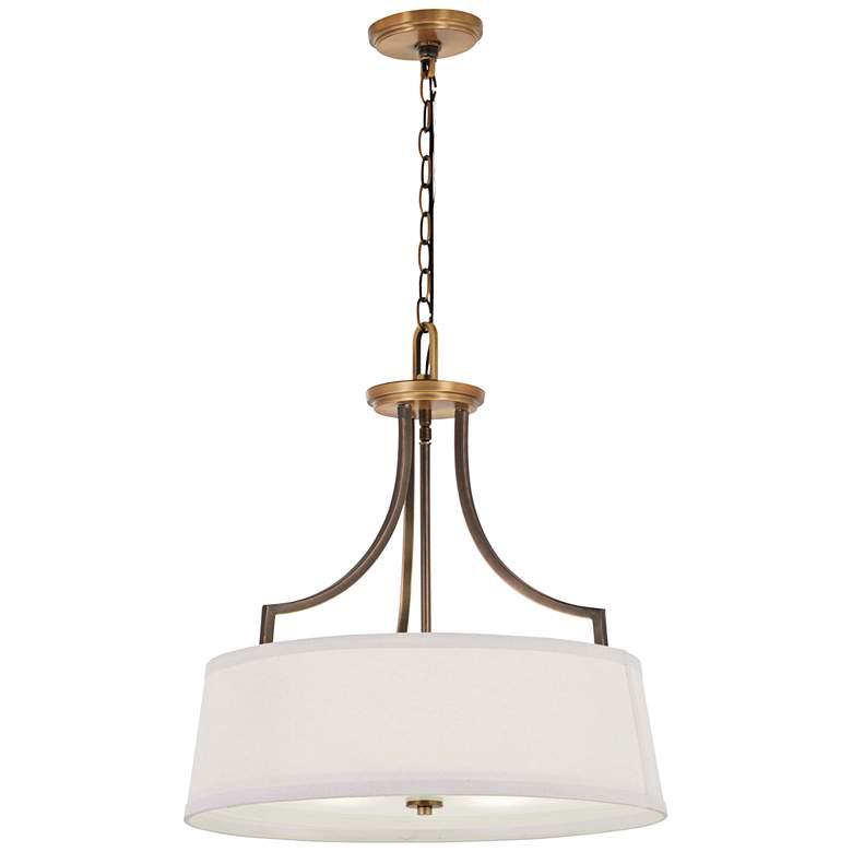 "Safra 20"" Wide Bronze and Brushed Brass Pendant Light"