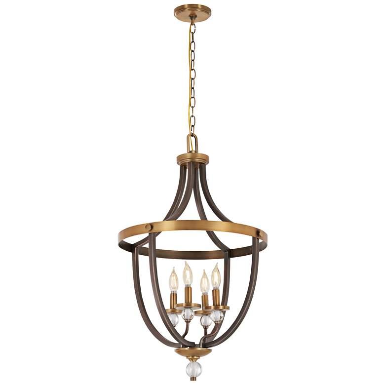 "Safra 19"" Wide Bronze and Brushed Brass 4-Light Pendant"