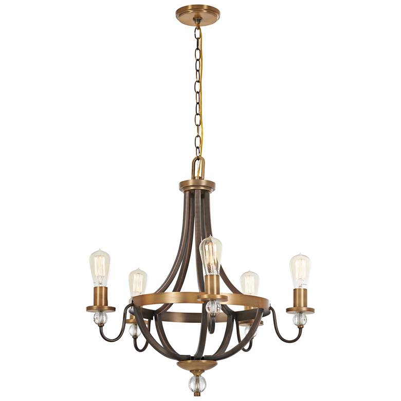 "Safra 25 1/4""W Bronze and Brushed Brass 5-Light Chandelier"