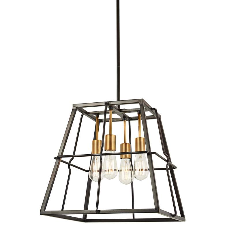 """Keeley Calle 18"""" Wide Painted Bronze 4-Light Pendant"""