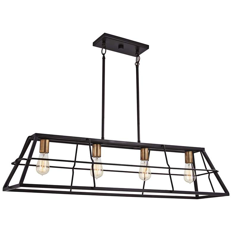 "Keeley Calle 42"" Wide Bronze Kitchen Island Light Pendant"