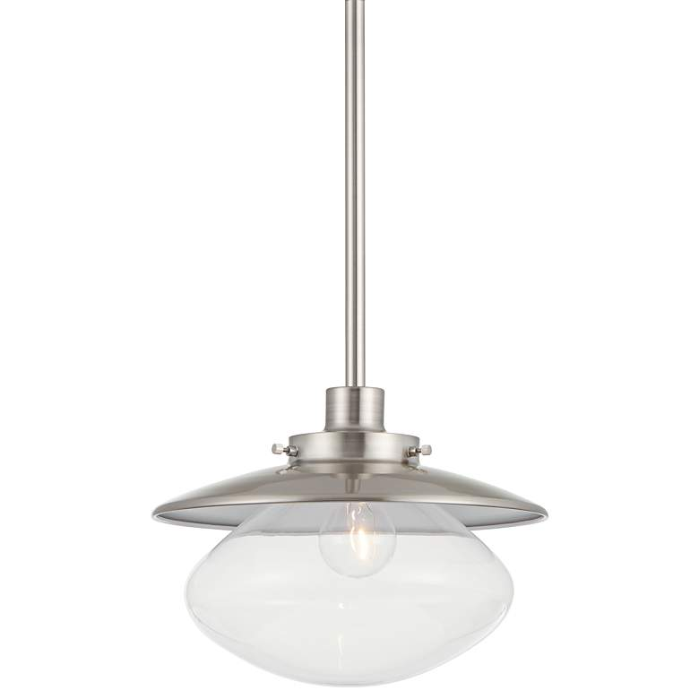 """Harlow 12"""" Wide Glass and Brushed Nickel Mini Pendant"""