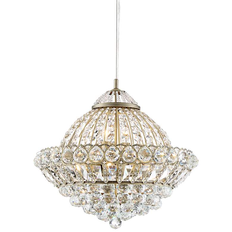 """Emelia 19 3/4"""" Wide Antique Brass and Crystal Pendant Light"""