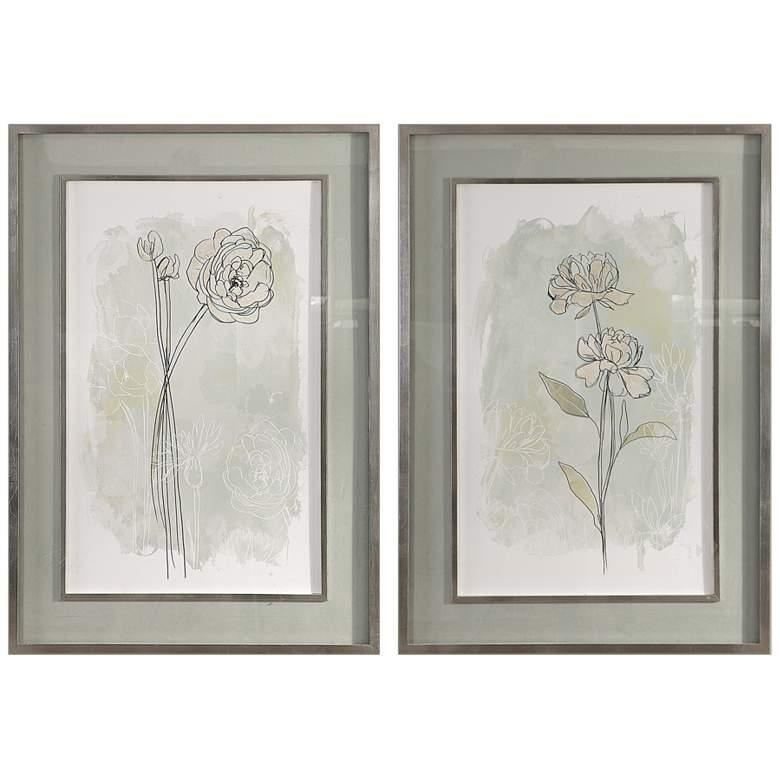 """Stone Flower Study 40 1/4"""" High 2-Piece Framed Wall Art Set"""