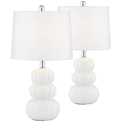 Lacey White Triple Gourd Table Lamp Set of 2