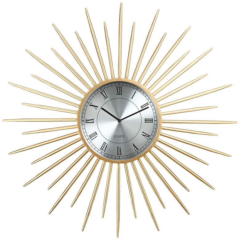 "Castallia Gold 28"" Round Metal Wall Clock"