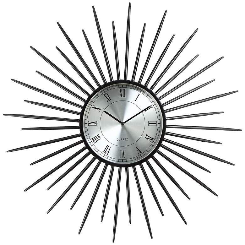 "Castallia Black 28"" Round Metal Sunburst Wall Clock"