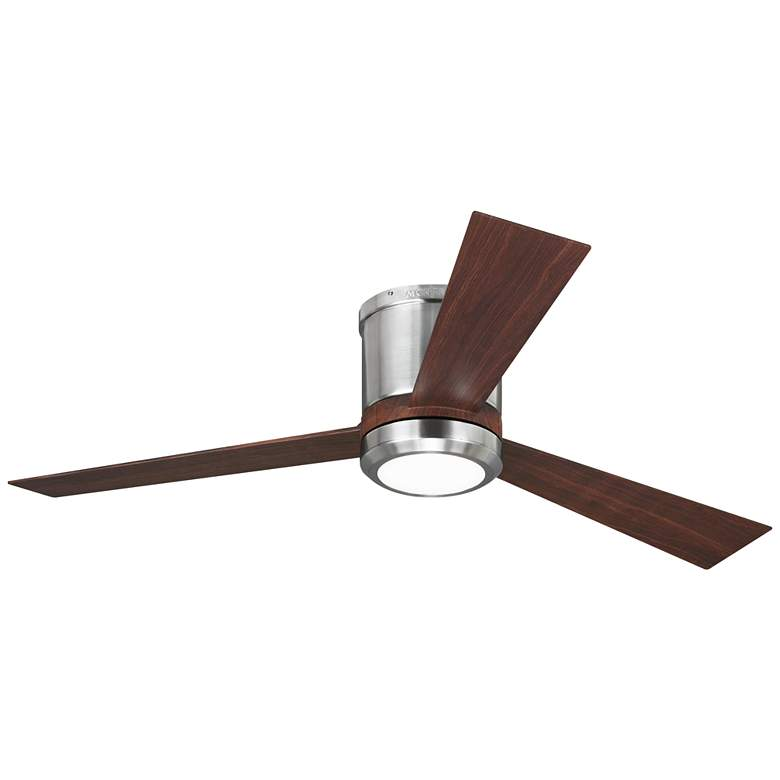"52"" Monte Carlo Clarity Brushed Steel Hugger LED Ceiling Fan"