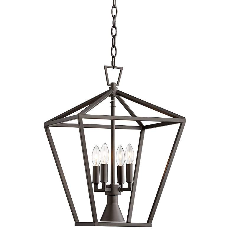 "Daynes 19 3/4""W Bronze 4-Light Entry Pendant with Downlight"
