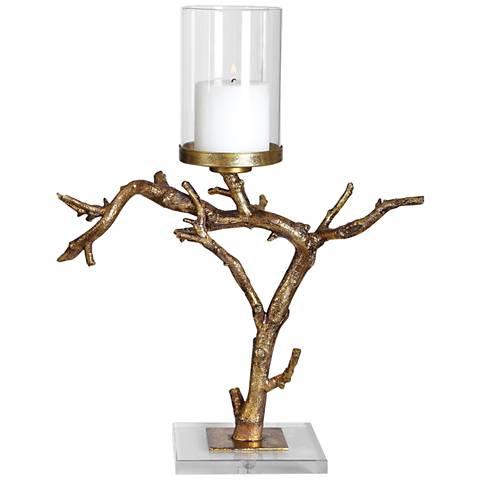 Uttermost Saud Antiqued Gold Branch Pillar Candle Holder