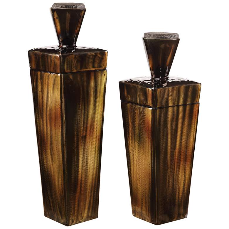 Uttermost Lisa Brown Steel Lidded Container Set of 2